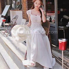 Women's Casual Party Micro Elastic Sleeveless Maxi Dress (Chiffon) - USD $15.99