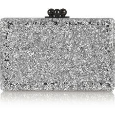 Edie Parker Minnie two-tone glittered acrylic box clutch (€660) ❤ liked on Polyvore featuring bags, handbags, clutches, borse, purses, silver, hand bags, two tone purse, handbag purse and black and silver handbags