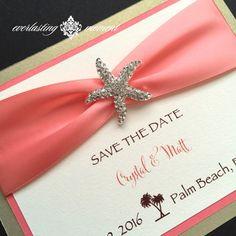 Rhinestone Starfish Save The Date Invitation, card, Beach Wedding, Seaside, Destination Wedding, ivory, coral, gold, Ocean Blue