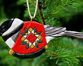 Hand Carved Chickadee with Quilt Ornament