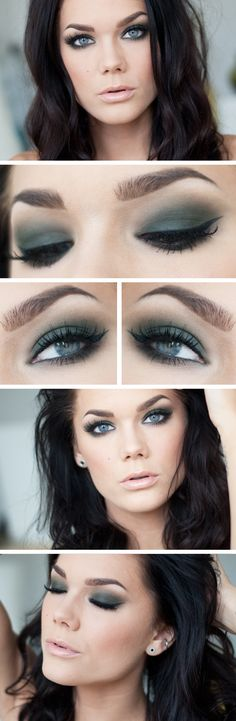 Todays look - Green smokey eyes | #smokey #nudelip