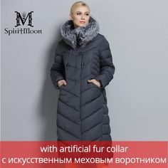32ed52c97cfb9 SpiritMoon Women Winter Down Jacket Winter Coat Women Hooded Parka With  Natural Fur Collar Silver Fox Big Plus Size 5XL 6XL