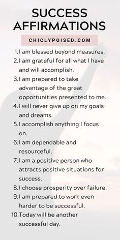 Positive Affirmations List for Success quotes quotes about life quotes about love quotes for teens quotes for work quotes god quotes motivation quotes about happiness Daily Positive Affirmations, Positive Affirmations Quotes, Money Affirmations, Affirmation Quotes, Positive Mantras, Prosperity Affirmations, Gratitude Quotes, Positive Quotes For Success, Being Positive