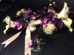 Purple orchid bridal bouquet