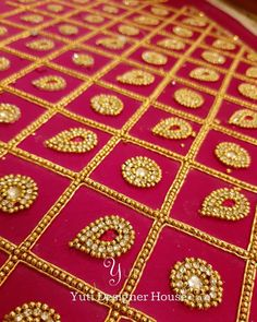 A Maroon checked embroidered blouse in the making by YUTI. For Orders and Queries reach us at or Address: Moosa street, TNagar, Chennai. Kids Blouse Designs, Simple Blouse Designs, Saree Blouse Neck Designs, Bridal Blouse Designs, Hand Designs, Diy Bead Embroidery, Hand Embroidery Videos, Embroidery Works, Hand Embroidery Designs