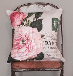 Pillow Cover Pink Rose Botanical Cotton and Burlap от JolieMarche