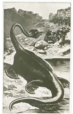 An illustration by Stanley L. Wood (1866-1928) for Wardon Allan Curtis' story 'The Monster of Lake LaMetrie' from 1899