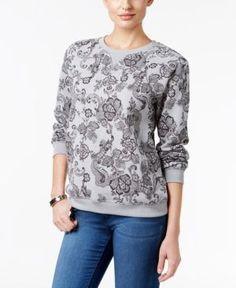 Karen Scott Petite Lace-Print Sweatshirt, Only at Macy's - Gray P/L