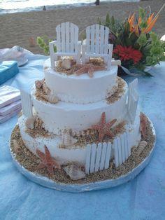 Bolo do casamento da praia