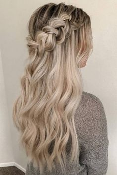 Cute Hairstyles hottest bridesmaids hairstyles ideas long blonde hair half up with braided crown heidimariegarrett.Cute Hairstyles hottest bridesmaids hairstyles ideas long blonde hair half up with braided crown heidimariegarrett Box Braids Hairstyles, Bride Hairstyles, Hairstyle Ideas, Hair Ideas, Braided Hairstyles For Long Hair, School Hairstyles, Fringe Hairstyle, Updo Hairstyle, Cute Blonde Hairstyles