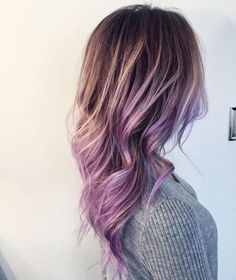 Brown hair girls should not miss this wonderful lavender purple ombre balayage hairstyle
