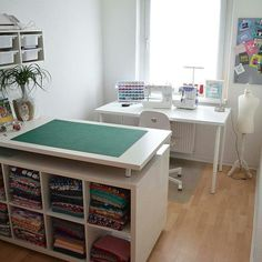 New sewing room organization quilting life ideasYou can find Sewing rooms and more on our website.New sewing room organization quilting life ideas Ikea Sewing Rooms, Sewing Desk, Sewing Room Storage, Sewing Spaces, Sewing Room Organization, Home Office Organization, My Sewing Room, Sewing Tables, Organizing
