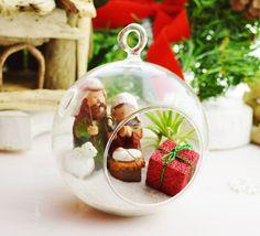 Manger Scene - Glass Globe Hanging Terrarium Kit w Tillandsia Air Plant - Home Decor - Gift - Decor ~ Holiday Decor