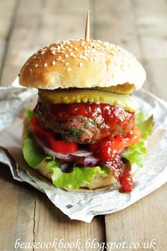 Beef Burger...love to see my recipes all jacked up n pretty like this! :)