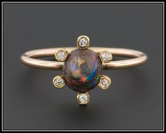 Antique Boulder Opal and Diamond Ring, 14k Gold Halo Ring by TrademarkAntiques on Etsy