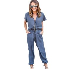 Plus Size 2016 Summer Fashion Long Chiffon Rompers Womens Jumpsuit V neck Short Sleeve Loose Casual Full Length playsuit macacao