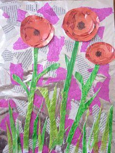 – Best Relaxing Art Therapy Activities For Mental Well-Being Classroom Art Projects, School Art Projects, Spring Art Projects, Spring Crafts, Art Floral, Flower Crafts, Flower Art, Remembrance Day Art, Kindergarten Art Lessons