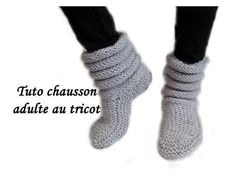 TUTO COMPLET CHAUSSON CHAUSSETTE ADULTE AU TRICOT FACILE adult slipper sock knitting