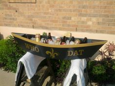 Ice cold beer...WHO DAT style! now fill this pirogue with crawfish and crabs...