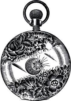 Public Domain Pocket Watch Image - Fancy! - The Graphics Fairy