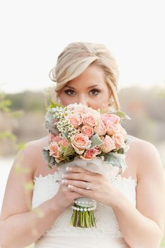 Peach rose wedding bouquet / Sweet Peach Photography