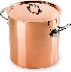 Mauviel Made In France M'Heritage Copper 150s 6132.25 11.7-Quart Stock Pot with Tin Interior and cast Stainless Steel Handle