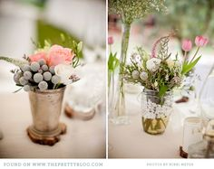 Pastel flower arrangements in silver and lace-wrapped vases.