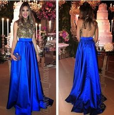 A satin cloth golden lace decals Royal blue Prom dresses party dress by prom dresses, $145.00 USD