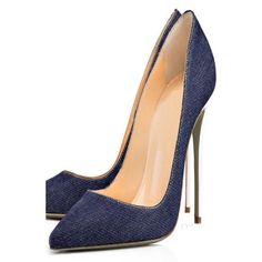 #DressWe - #DressWe Blue Shoes Denim Pointed Toe Slip-On Stilettos - AdoreWe.com