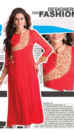 Red Neck Embroidered Faux Georgette Readymade Stylish Kurti