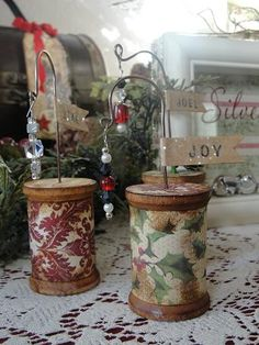 Mixed Media Christmas decoration tutorial by Mike & Christy: Christmas Spool Christmas Paper, Winter Christmas, Christmas Time, Vintage Christmas, Music Ornaments, Diy Christmas Ornaments, Christmas Decorations, Hanging Ornaments, Wooden Spool Crafts