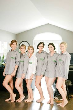 DIY getting ready button down shirts make for a great extra little gift for your girls. Get the shirts in the men's section at Walmart & stencil on their initials with fabric paint. #DIY #weddinggifts #bridesmaids - Rachael Joy Photography