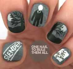 Although I'm not crazy about paint on my nails, this m… Slenderman nails…. Although I'm not crazy about paint on my nails, this mess is fun! Emo Nail Art, Crazy Nail Art, Slender Man, Cute Nails, Pretty Nails, Gorgeous Nails, Mens Nails, Missouri, Nail Art Blog