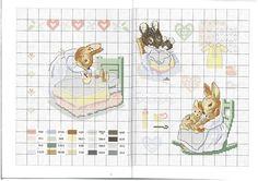 0 point de croix grille et couleurs de fils maman lapin endormant petits lapins, bonne nuit, d'après Beatrix Potter