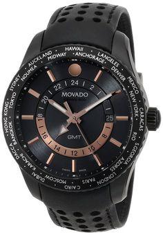 Movado 2600118 - Reloj para hombres, correa de cuero color negro