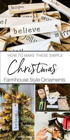 Farmhouse Christmas Ornaments Diy, Wood Ornaments, Diy Christmas Ornaments, Christmas Tree Decorations, Holiday Crafts, Ornament Crafts, Christmas Trees, Merry Christmas, Natural Christmas