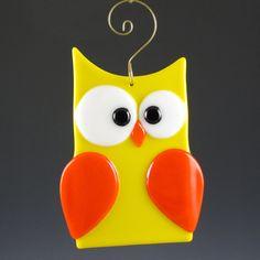 Fused Glass Owl Suncatcher  Yellow & Orange by AngelasGlassStudio, $14.00