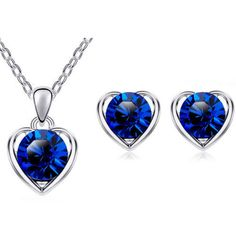 Silver-Plated-Blue-Crystal-Heart-Necklace-Earrings-Set