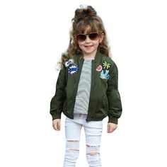 Toddler Girls Kids Baby Cartoon Embroidery Jacket Warm Coat Outerwear Clothes (24 Months, Arm Green). Material:Cotton blend ;Pattern Type:Cartoon Embroidery. 1.It is made of high quality materials,Soft hand feeling, no any harm to your baby's skin. 2.Stylish and fashion design make your baby more attractive. 3.Great for casual, Daily, party or photoshoot, also a great idea for a baby show gifts. 4.Cute kid autumn winter jacket ,fashion and fit on your little baby.