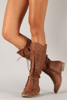 Coco-39 Round Toe Military Lace Up Knee High Boot $37.90