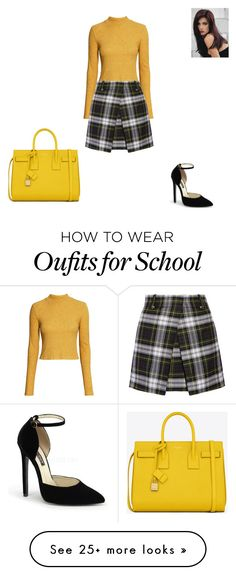 """""""School Girl Style"""" by nalissa on Polyvore featuring H&M, McQ by Alexander McQueen, Yves Saint Laurent and Revlon"""