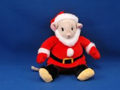 New product '2010 DOUGLAS 1966 Michael Brown Stuffed Santa Mouse No. 598' added to Dirty Butter Plush Animal Shoppe! - $8.00 - 2010 DOUGLAS No. 598 Plush 7 inch Seated Santa Mouse from the 1966 Michael Brown Book - Gray Velour Mouse with Pink Velo…