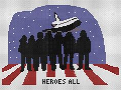 Heroes All is a counted cross stitch design adapted with permission from an editorial cartoon by Barry Shelton to honor the brave crew of the Columbia space shuttle. Let us be proud of the exceptional crew members of Columbia, and in awe of their accomplishments. Let us be in deep sympathy with their families and loved ones. Let us be inspired by their gallant examples.