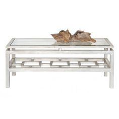 THE WELL APPOINTED HOUSE - Luxury Home Decor- Champagne Silver Leaf Rectangular Coffee Table with Beveled Clear Glass Top - Coffee Tables - Furniture #Furniture #Interiordesign #Redecorating #Decorate