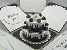 Exploding Box Birthday Card 3D No Calorie Cake by StampingCowgirl, $16.00