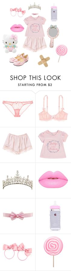 """""""Lilli's OOTD 3"""" by cosmic-sky ❤ liked on Polyvore featuring L'Agent By Agent Provocateur, George, H&M, Hello Kitty, Pink and ddlg"""
