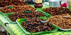 Verschiedene Arten gebratener Insekten, ein normaler Anblick auf Märkten in Südostasien © Shutterstock.com Borneo, Breakfast, Food, Insects, Morning Coffee, Essen, Meals, Yemek, Eten