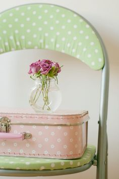 polka dots pink and green.  I love this idea for sprucing up folding chairs.  :-)  Sweet!!  rr