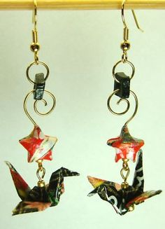 Lacquered Washi Paper Star Crane Origami Earrings
