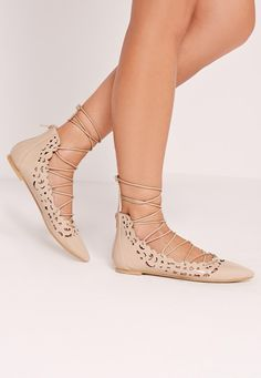 Missguided - Laser Cut Lace Up Flat Shoe Nude